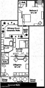 Two bedroom townhome floorplan