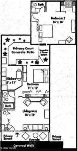 Two bedroom townhome floorplan